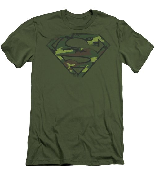 Superman - Distressed Camo Shield Men's T-Shirt (Athletic Fit)