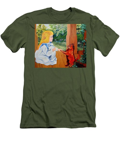 Men's T-Shirt (Slim Fit) featuring the painting The Dance Lesson by Karon Melillo DeVega