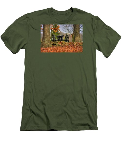 Men's T-Shirt (Slim Fit) featuring the photograph War Thunder - The Charlotte North Carolina Artillery Grahams Battery West Confederate Ave Gettysburg by Michael Mazaika