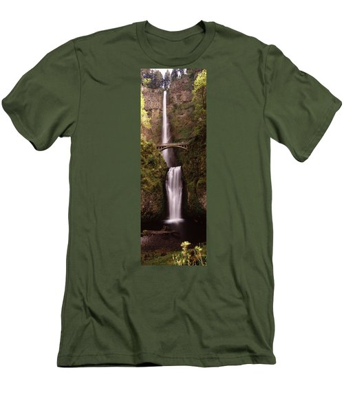 Waterfall In A Forest, Multnomah Falls Men's T-Shirt (Athletic Fit)