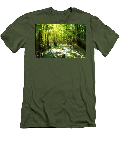 Waterfall In Rainforest Men's T-Shirt (Athletic Fit)