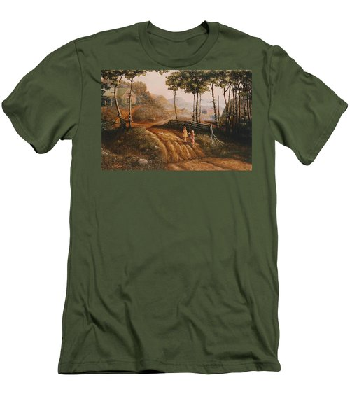 A Country Lane Men's T-Shirt (Slim Fit) by Duane R Probus
