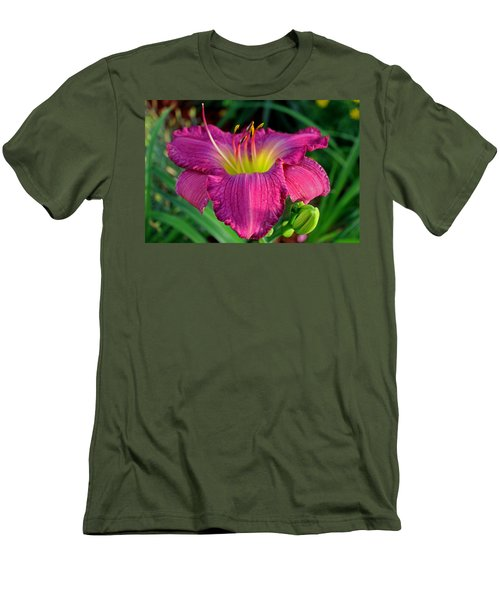 Men's T-Shirt (Slim Fit) featuring the photograph Bela Lugosi Daylily by Suzanne Stout