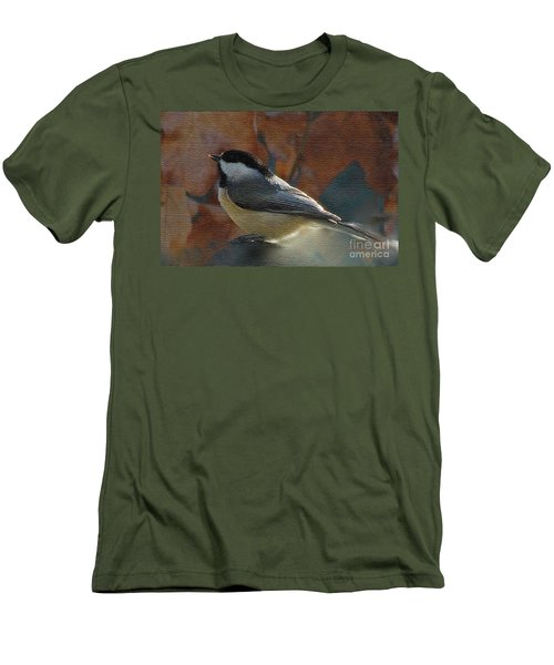 Men's T-Shirt (Slim Fit) featuring the photograph Chickadee In Autumn by Janette Boyd