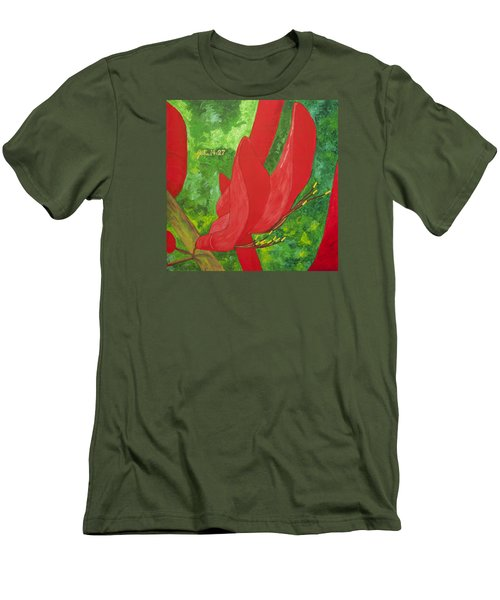 Men's T-Shirt (Slim Fit) featuring the painting Coral Bean Tree by Mark Robbins