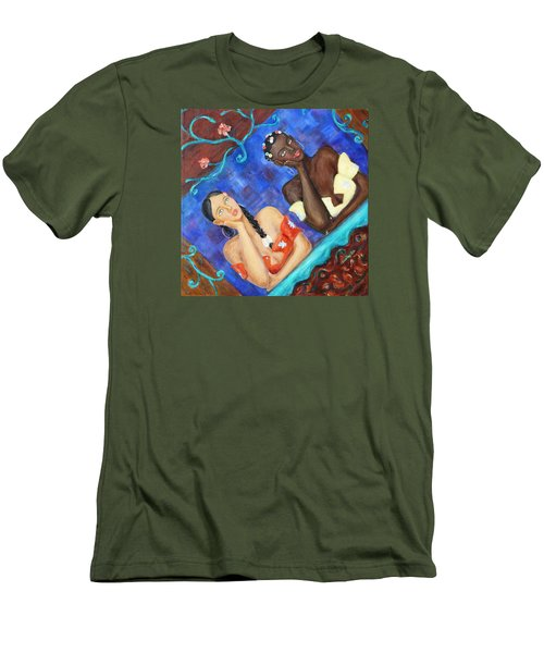 Men's T-Shirt (Slim Fit) featuring the painting Dreaming Girls by Xueling Zou