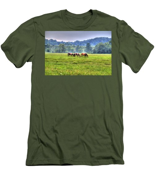 Horses In A Field Men's T-Shirt (Athletic Fit)