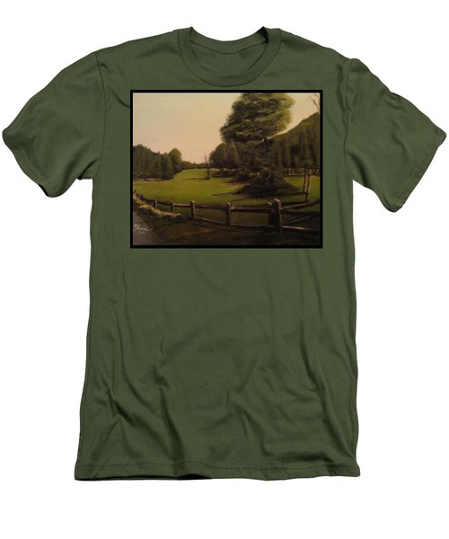 Landscape Of Duxbury Golf Course - Image Of Original Oil Painting Men's T-Shirt (Athletic Fit)
