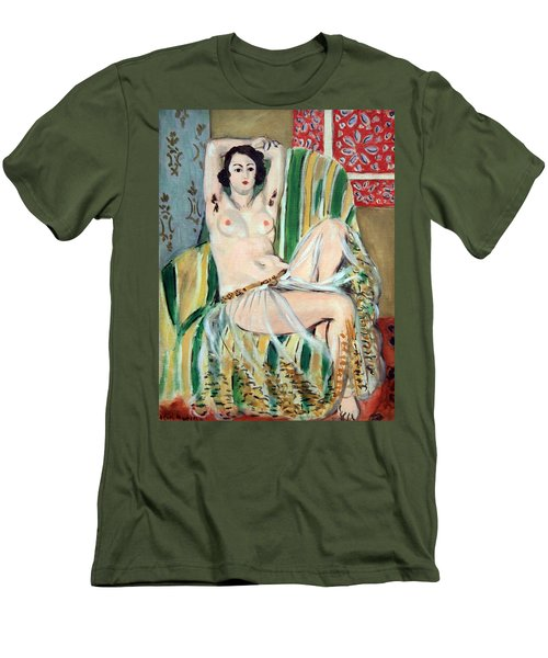 Matisse's Odalisque Seated With Arms Raised In Green Striped Chair Men's T-Shirt (Athletic Fit)