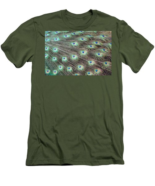 Men's T-Shirt (Slim Fit) featuring the photograph Peacock Feather Fiesta  by Diane Alexander