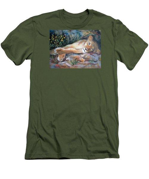 Sleep Lion Men's T-Shirt (Slim Fit) by Jieming Wang
