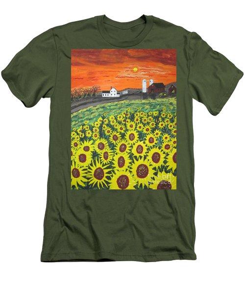 Sunflower Valley Farm Men's T-Shirt (Slim Fit) by Jeffrey Koss