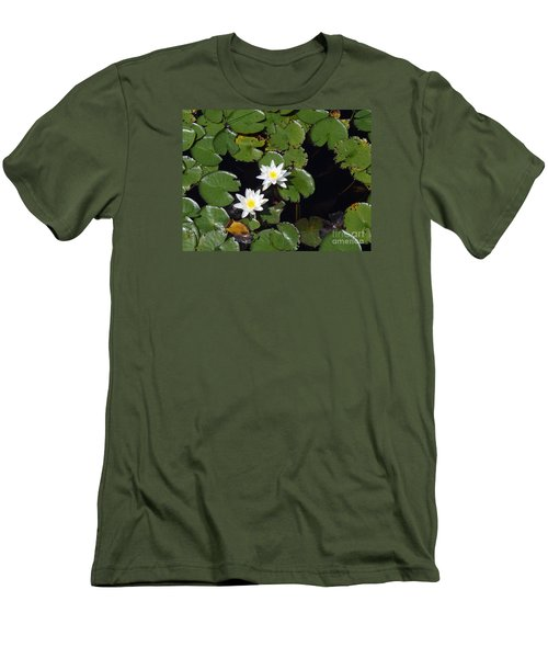 Men's T-Shirt (Slim Fit) featuring the photograph 2 Water Lily by Robert Nickologianis