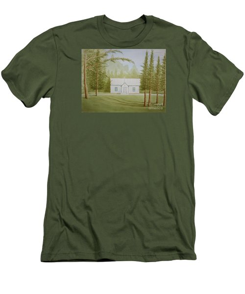 Men's T-Shirt (Slim Fit) featuring the painting A North Carolina Church by Stacy C Bottoms