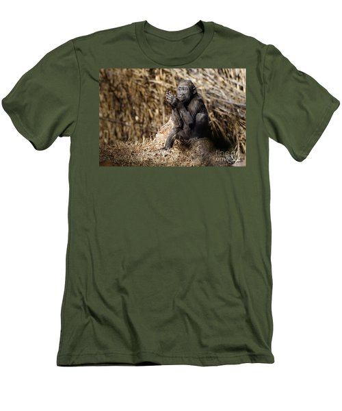 Quiet Juvenile Gorilla Men's T-Shirt (Athletic Fit)