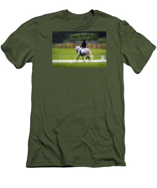 Men's T-Shirt (Slim Fit) featuring the photograph Rainy Day Dressage by Joan Davis
