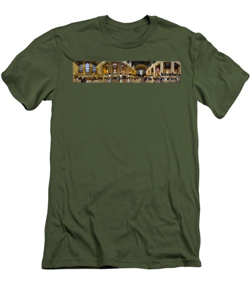 360 Panorama Of Grand Central Terminal Men's T-Shirt (Slim Fit) by David Smith
