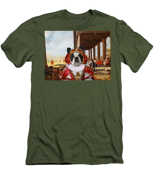 French Bulldog Art Canvas Print Men's T-Shirt (Athletic Fit)