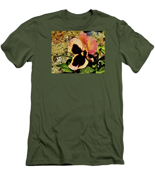 Men's T-Shirt (Slim Fit) featuring the photograph A Charming Pansy by VLee Watson