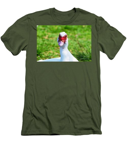 Men's T-Shirt (Slim Fit) featuring the photograph A Curious Muscovy Duck  by Susan Wiedmann