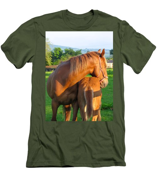 Men's T-Shirt (Slim Fit) featuring the photograph A Mother's Love by Suzanne Oesterling