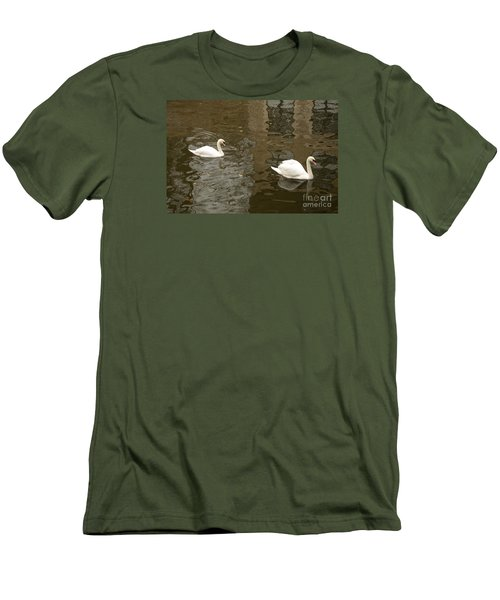 Men's T-Shirt (Slim Fit) featuring the photograph A Pair Of Swans Bruges Belgium by Imran Ahmed