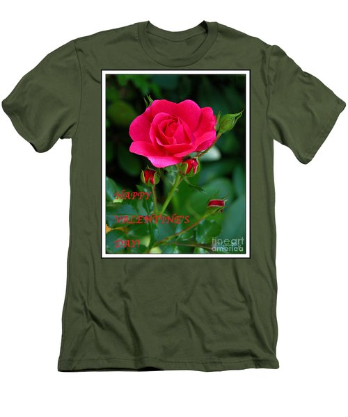 Men's T-Shirt (Slim Fit) featuring the photograph A Rose For Valentine's Day by Mariarosa Rockefeller