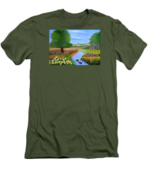 A Spring Stream Men's T-Shirt (Slim Fit) by Magdalena Frohnsdorff