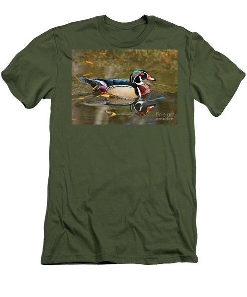 Men's T-Shirt (Slim Fit) featuring the photograph A Wood Duck And His Reflection by Kathy Baccari