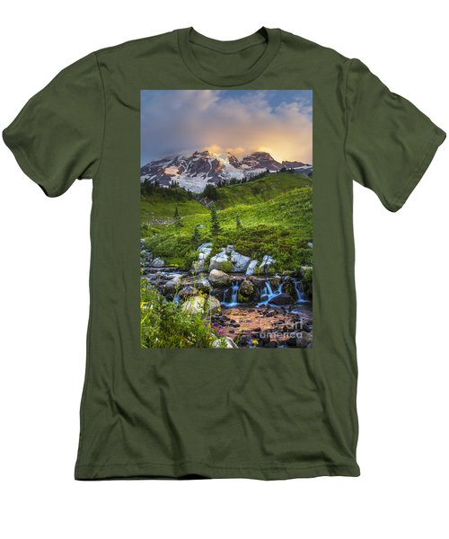 Above Myrtle Falls 3 Men's T-Shirt (Slim Fit) by Sonya Lang