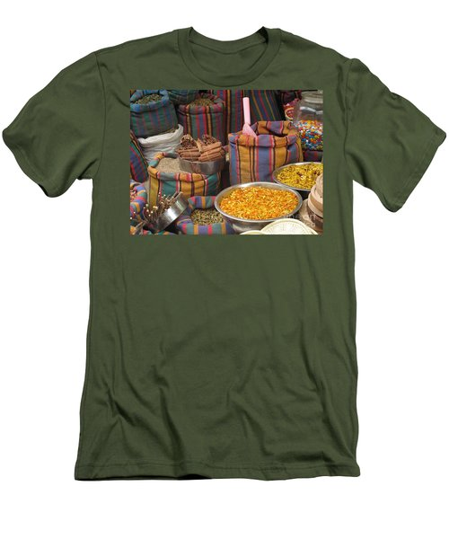 Men's T-Shirt (Slim Fit) featuring the photograph Acco Acre Israel Shuk Market Spices Stripes Bags by Paul Fearn
