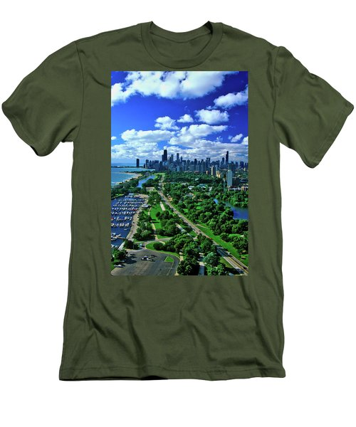 Aerial View Of Chicago, Illinois Men's T-Shirt (Athletic Fit)