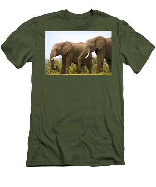 African Elephants Men's T-Shirt (Slim Fit) by Menachem Ganon