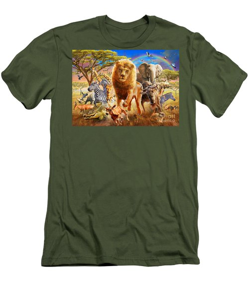 African Stampede Men's T-Shirt (Slim Fit) by Adrian Chesterman
