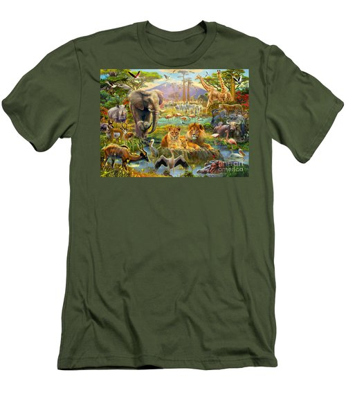 African Watering Hole Men's T-Shirt (Athletic Fit)
