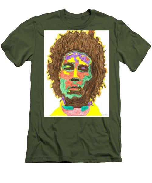 Men's T-Shirt (Slim Fit) featuring the painting Afro Bob Marley by Stormm Bradshaw