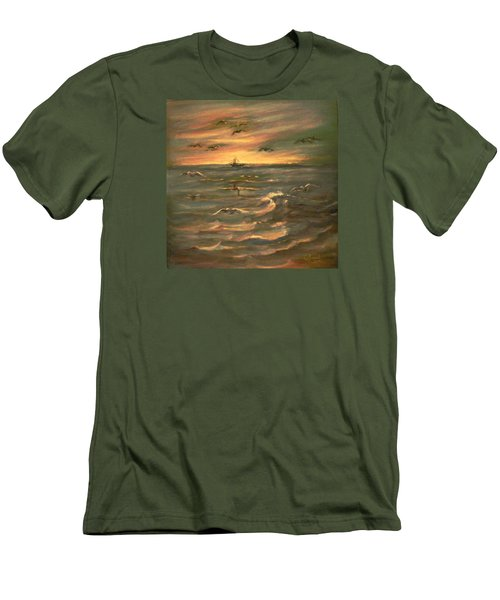 Men's T-Shirt (Slim Fit) featuring the painting After Sunset  by Laila Awad Jamaleldin