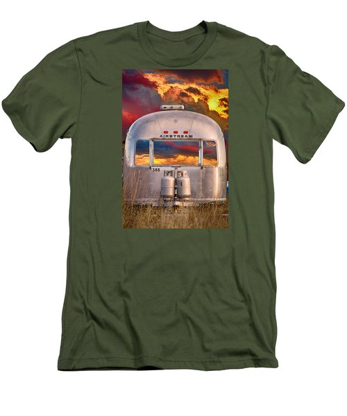 Airstream Travel Trailer Camping Sunset Window View Men's T-Shirt (Slim Fit) by James BO  Insogna