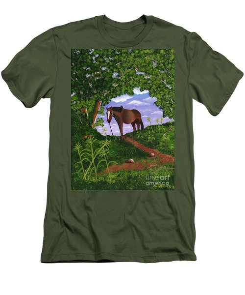 Men's T-Shirt (Slim Fit) featuring the painting All Alone by Laura Forde