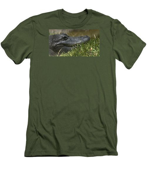 Men's T-Shirt (Slim Fit) featuring the photograph American Alligator Closeup by David Millenheft
