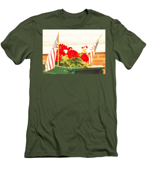 American Flags And Geraniums In A Wheelbarrow One Men's T-Shirt (Slim Fit) by Marian Cates