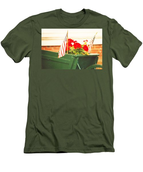 American Flags And Geraniums In A Wheelbarrow Two Men's T-Shirt (Slim Fit) by Marian Cates