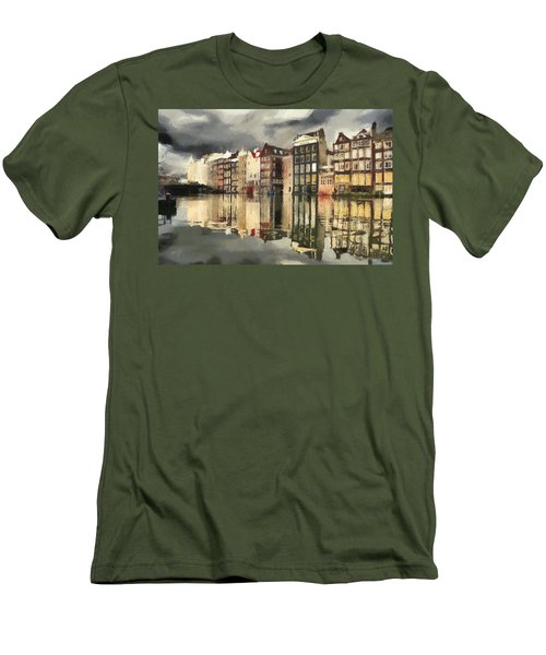 Men's T-Shirt (Slim Fit) featuring the painting Amsterdam Cloudy Grey Day by Georgi Dimitrov