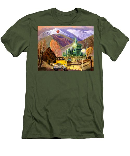 Men's T-Shirt (Slim Fit) featuring the painting Trucks In Oz by Art James West