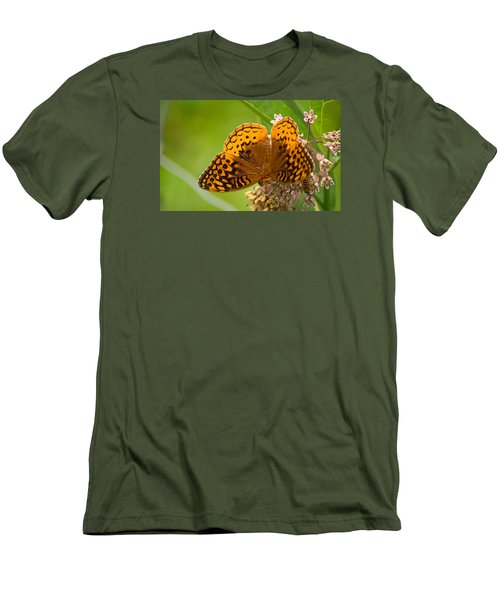 Men's T-Shirt (Slim Fit) featuring the photograph Great Spangled Fritillary by Rima Biswas