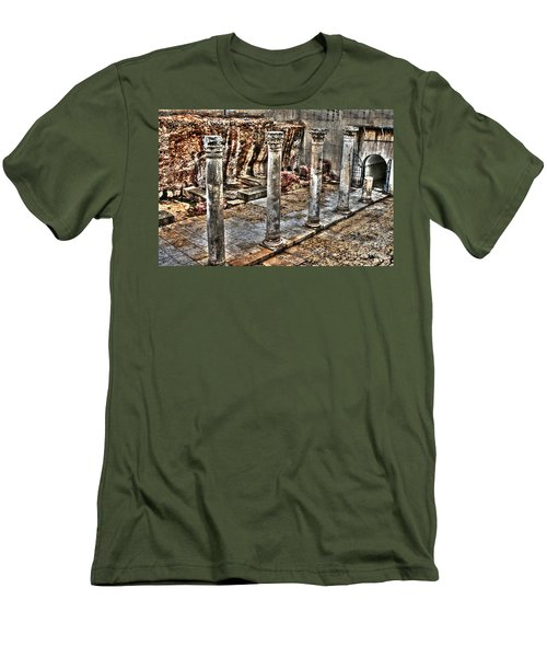Men's T-Shirt (Slim Fit) featuring the photograph Ancient Roman Columns In Israel by Doc Braham