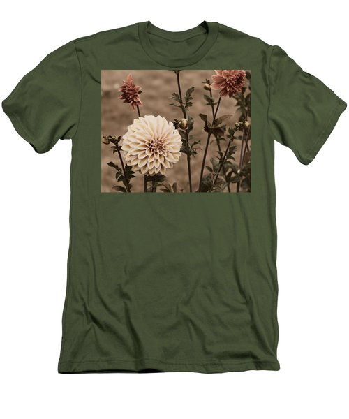 Men's T-Shirt (Slim Fit) featuring the photograph Antiqued Dahlias by Jeanette C Landstrom