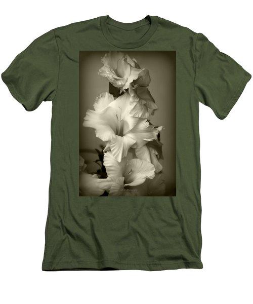 Antiqued Gladiolus Men's T-Shirt (Slim Fit) by Jeanette C Landstrom