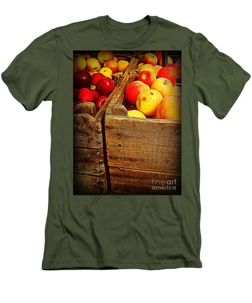 Men's T-Shirt (Slim Fit) featuring the photograph Apples In Old Bin by Miriam Danar