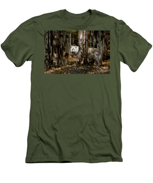 Men's T-Shirt (Slim Fit) featuring the photograph Arctic Wolf In Forest by Wolves Only